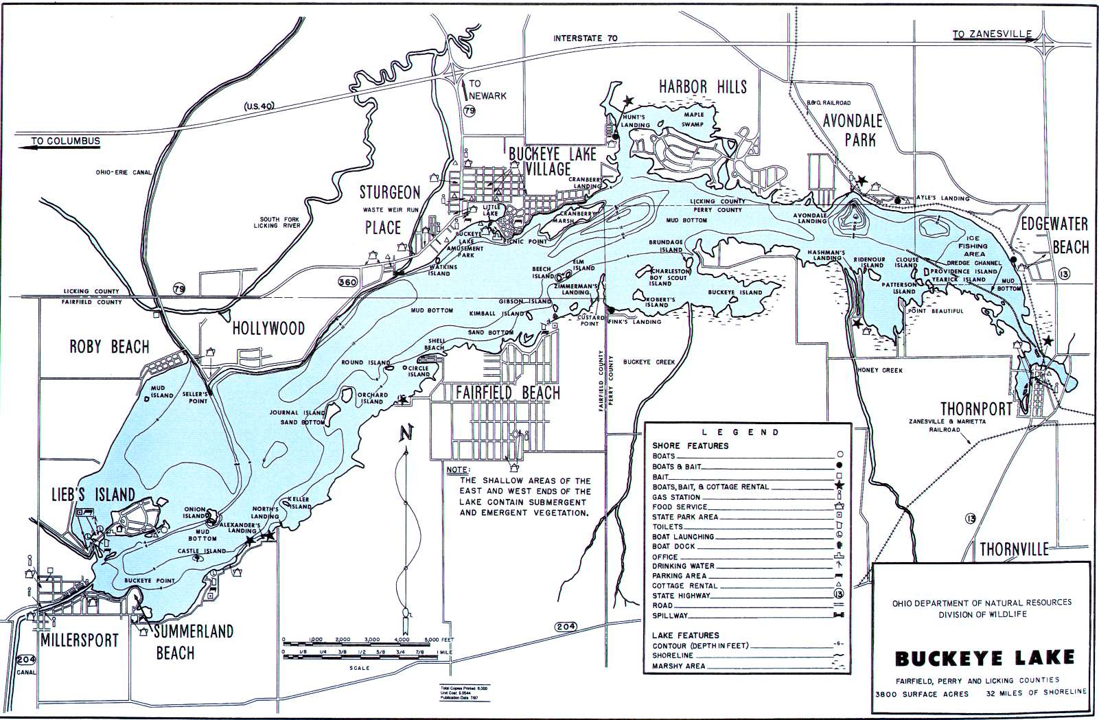 buckeye lake fishing map go fish ohio