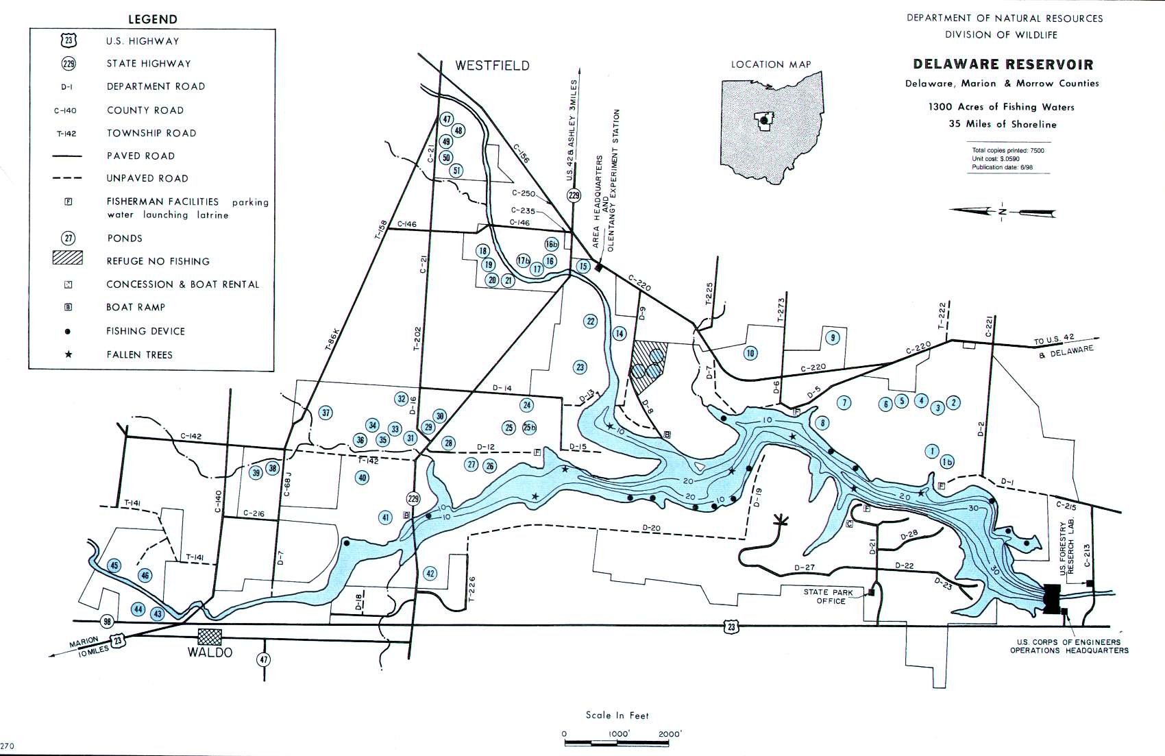 Delaware Reservoir Fishing Map Central Ohio - Central ohio map
