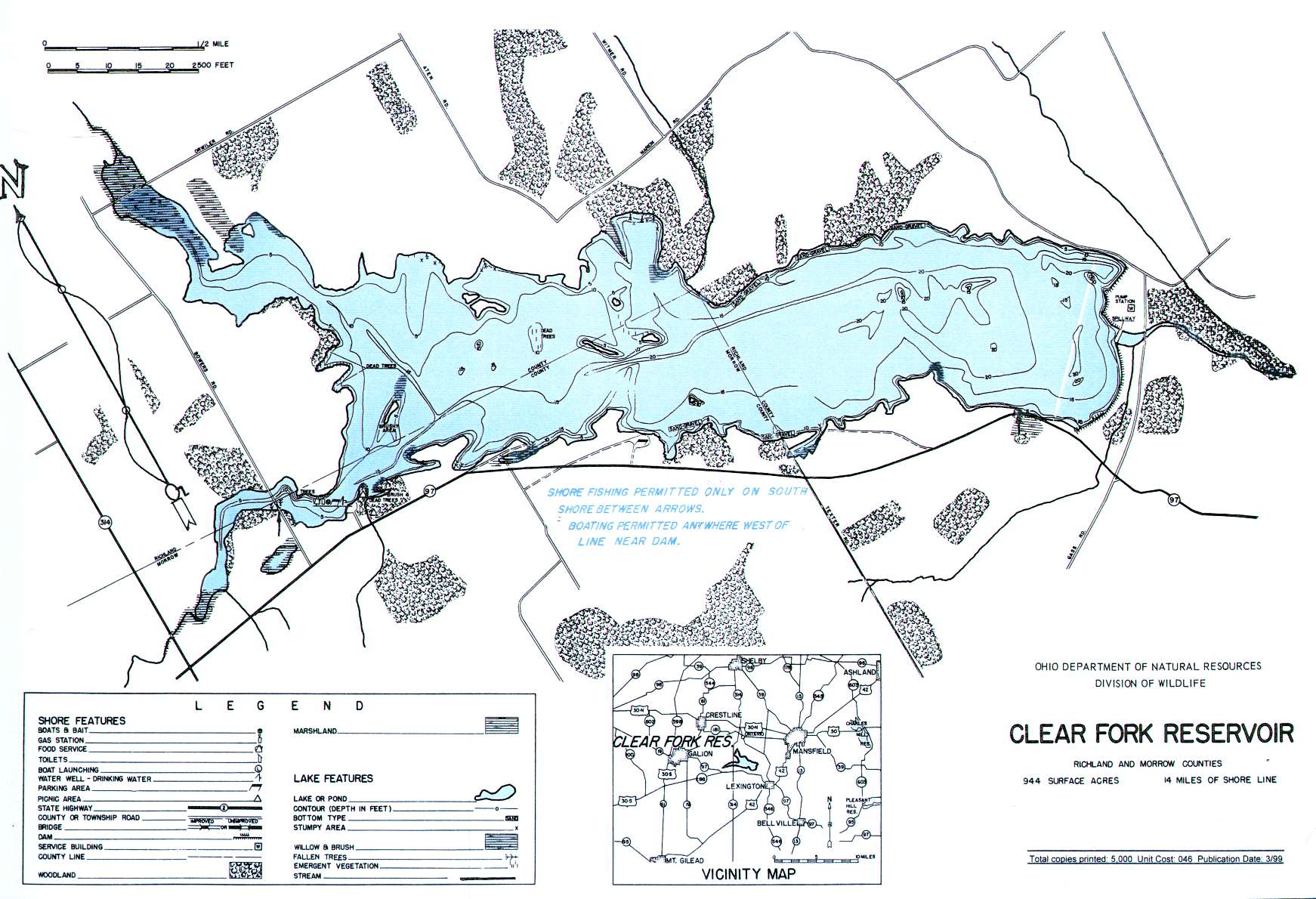 Clear Fork Lake Fishing Map| Central Ohio Fishing