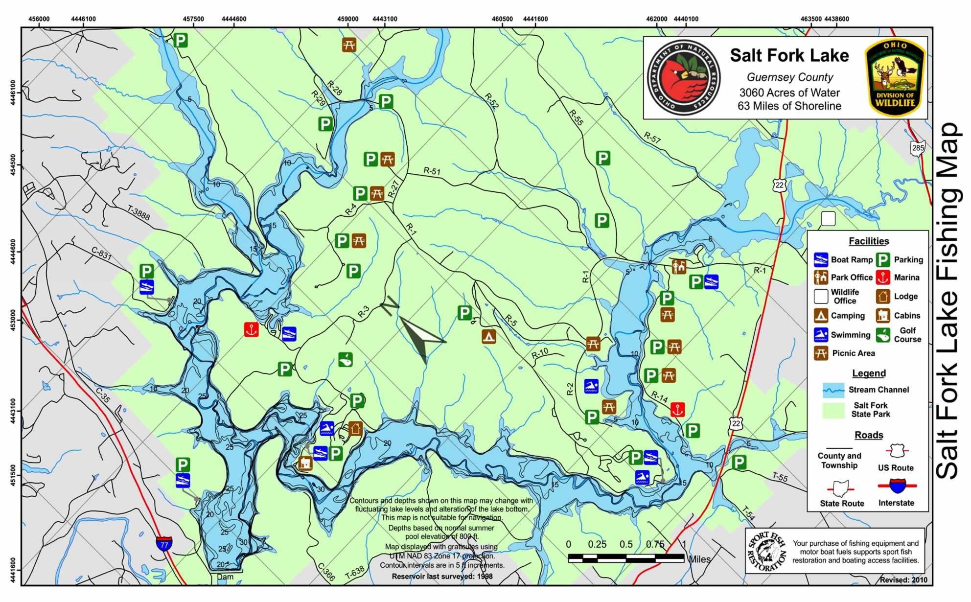 Salt Fork Lake OH Fishing Map