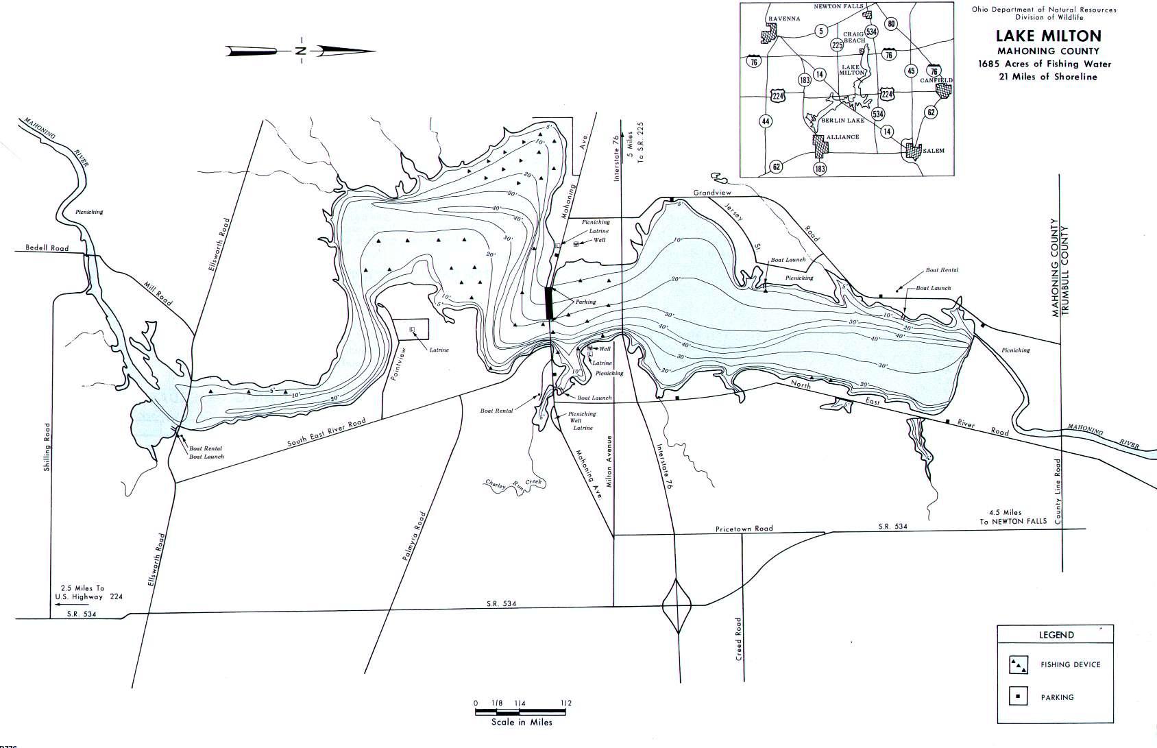 Lake Milton Fishing Map, OH - GoFishOhio!