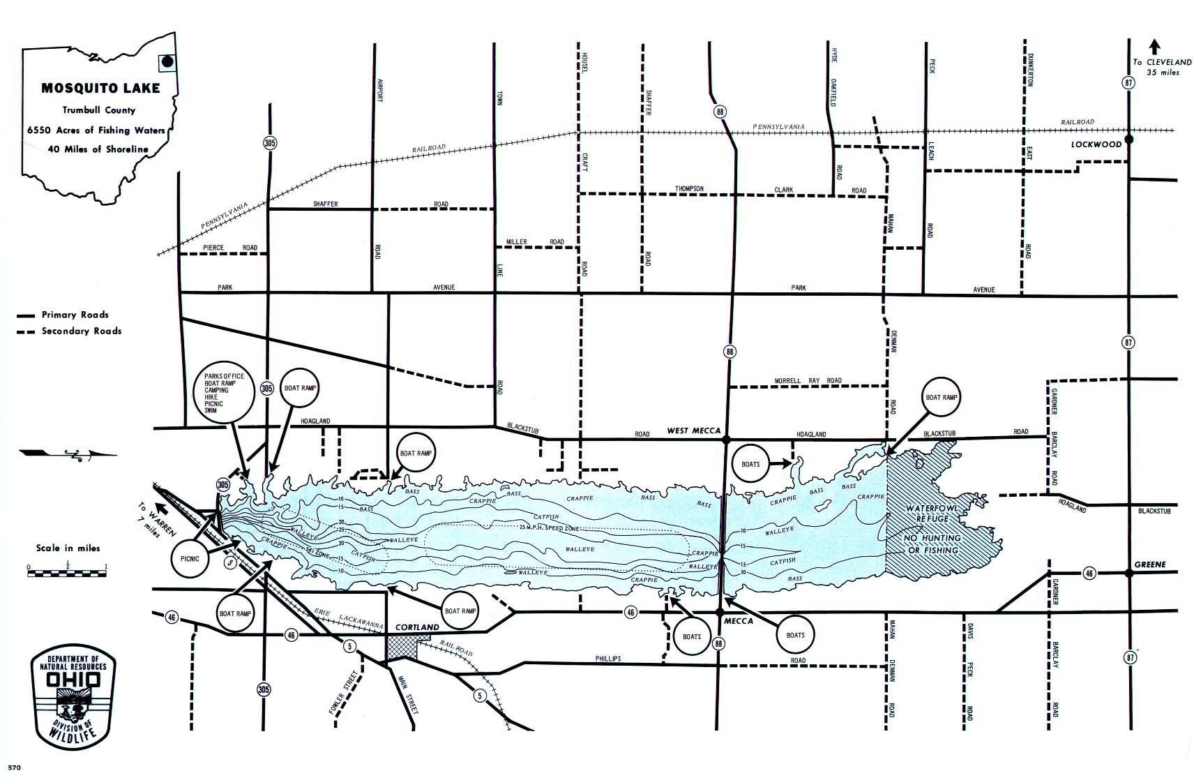Mosquito Lake Fishing Map, OH - GoFishOhio
