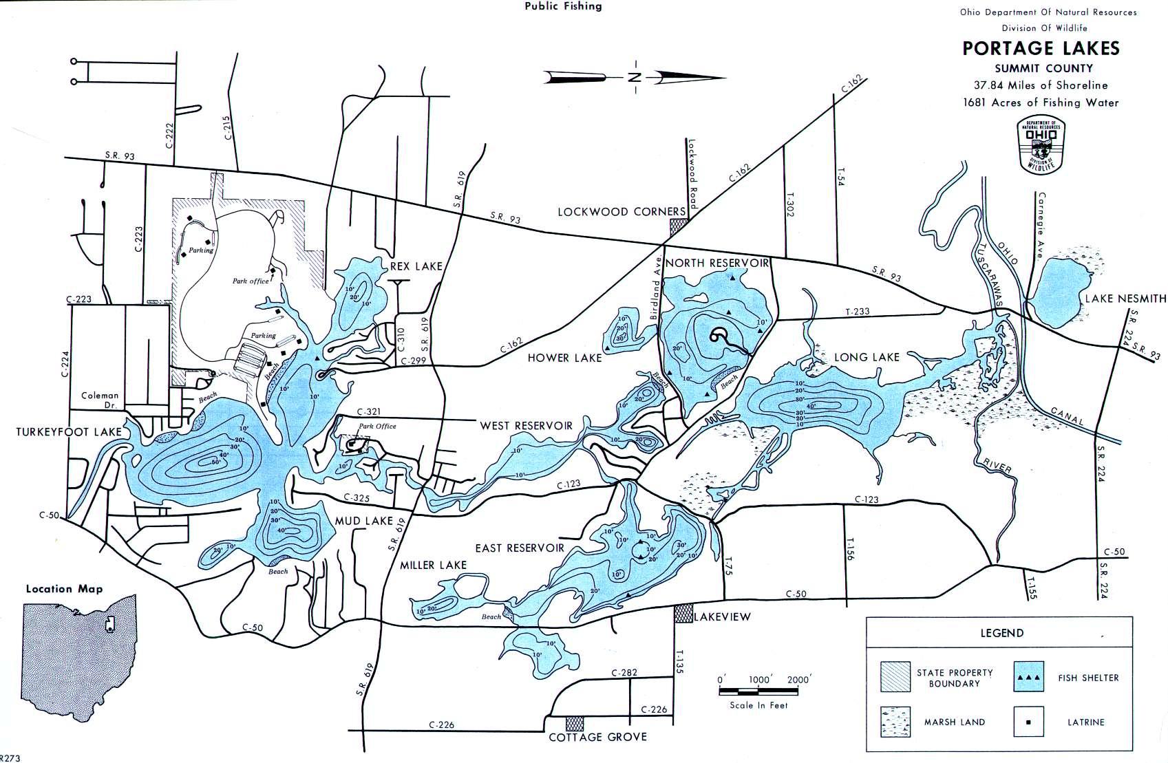 Portage Lakes Fishing Map, OH - GoFishOhio