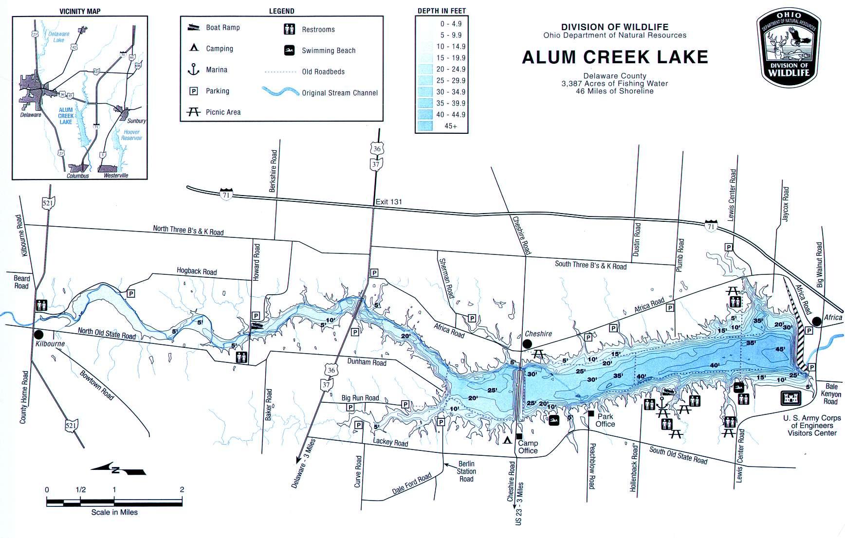 Alum Creek Lake Fishing Map