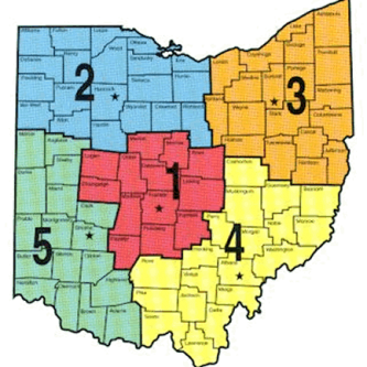 Ohio Lake Regions Map