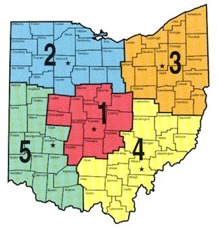 Ohio Lake Regions Map