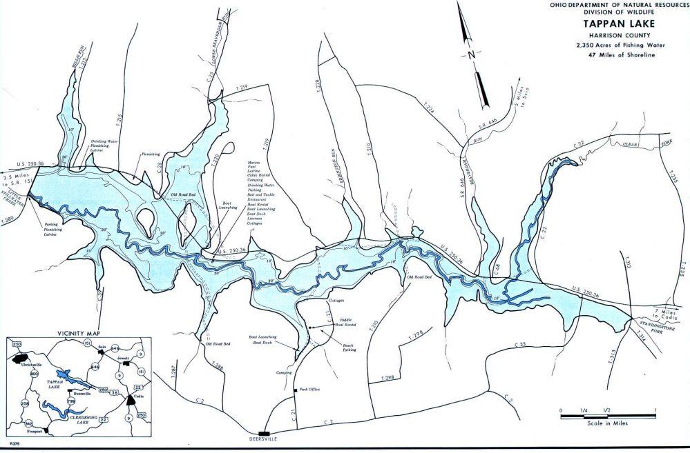 Tappan Lake, Ohio Fishing Map