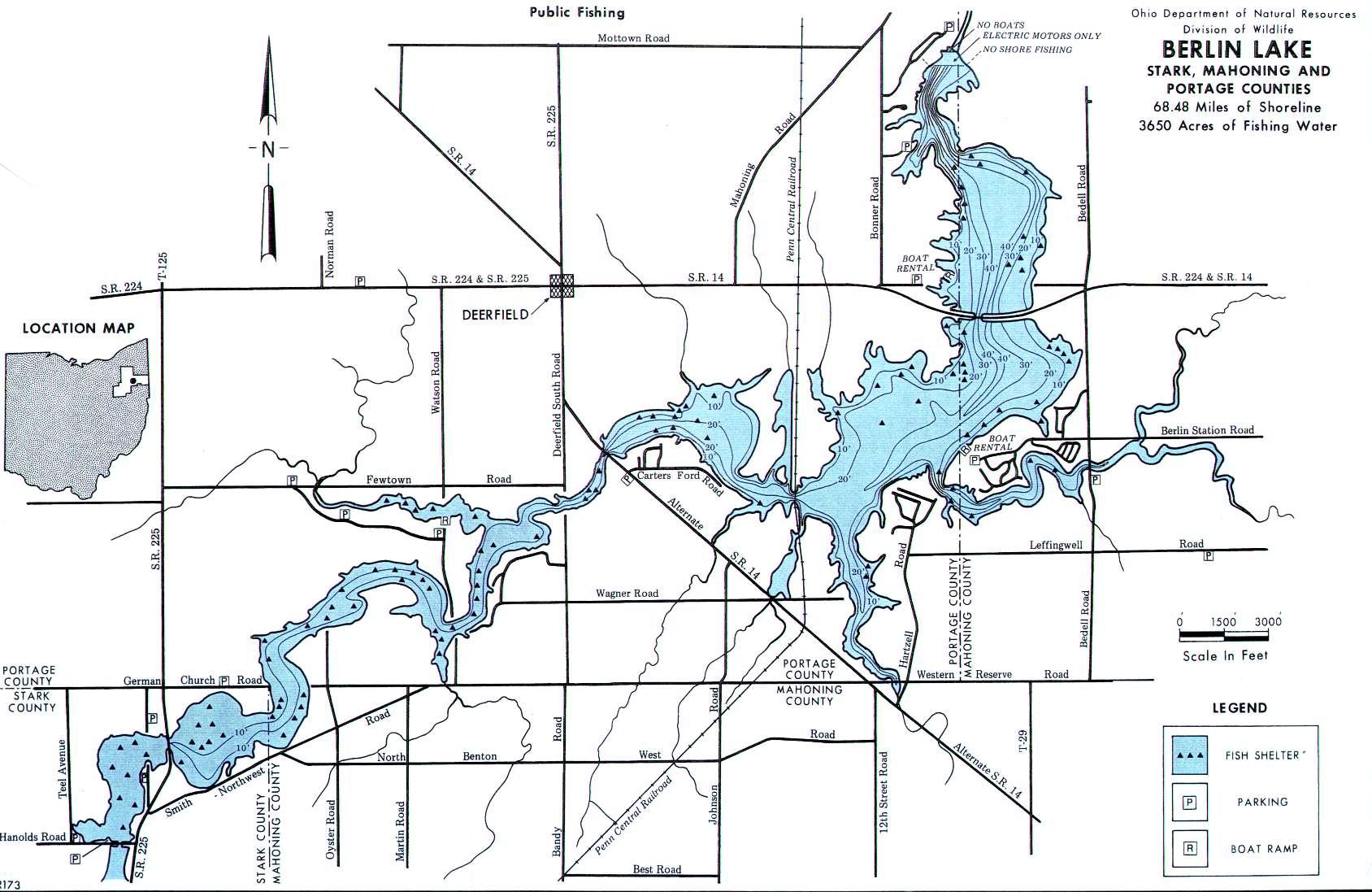 Berlin Lake, OH Fishing Map