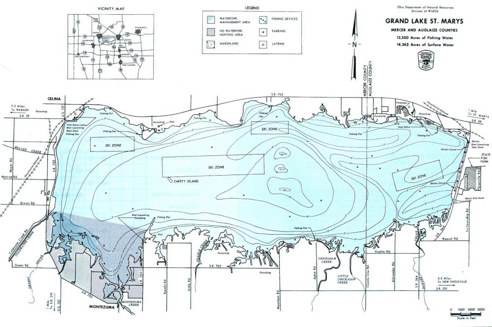 Grand Lake St. Marys Fishing Map