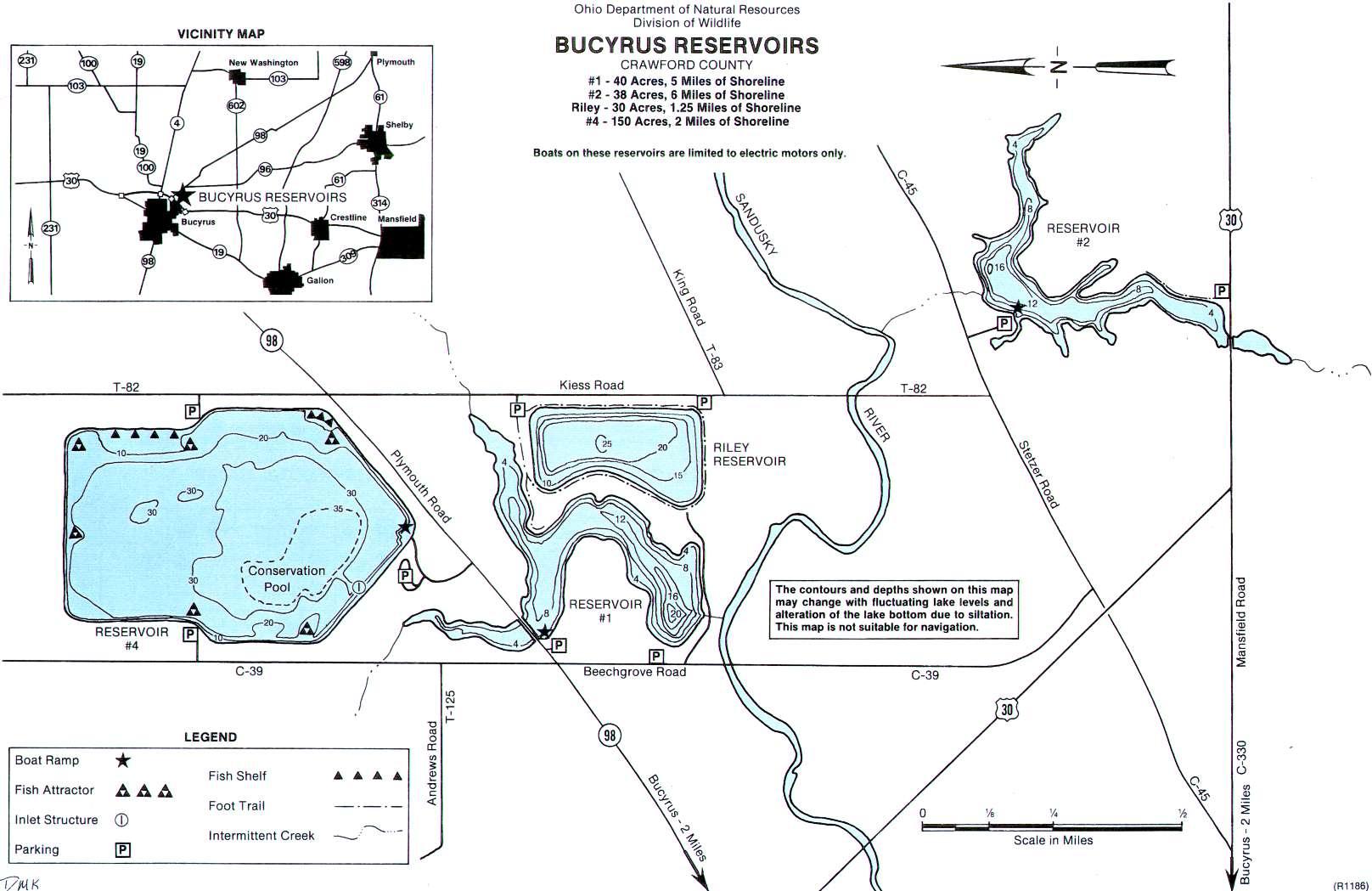 Bucyrus Reservoirs Fishing Map - GoFishOhio
