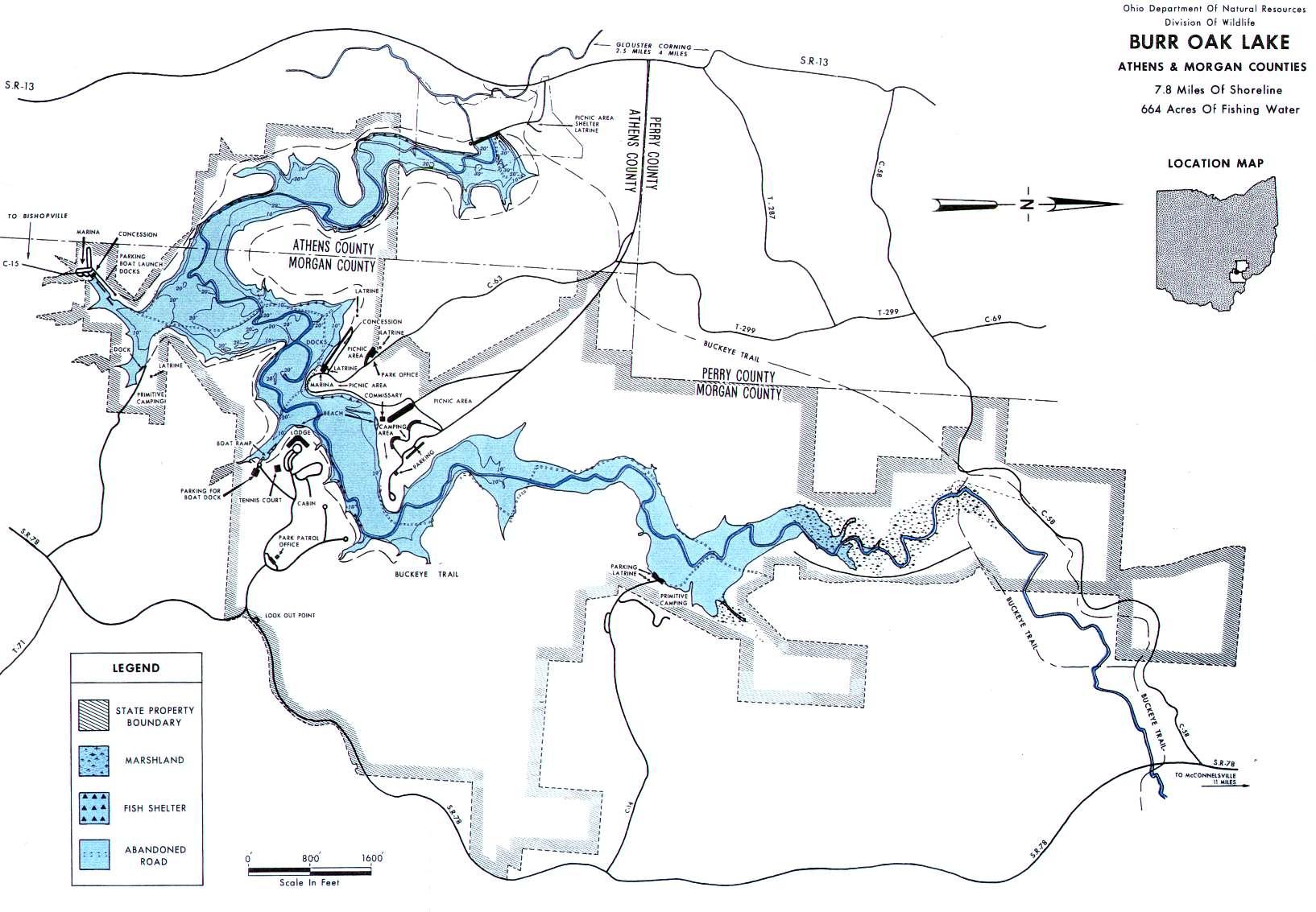 Burr Oak Lake Fishing Map - GoFishOhio