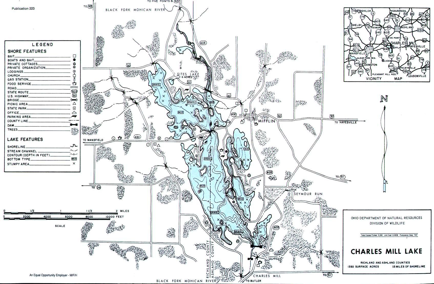 Charles Mill Lake Fishing Map - GoFishOhio