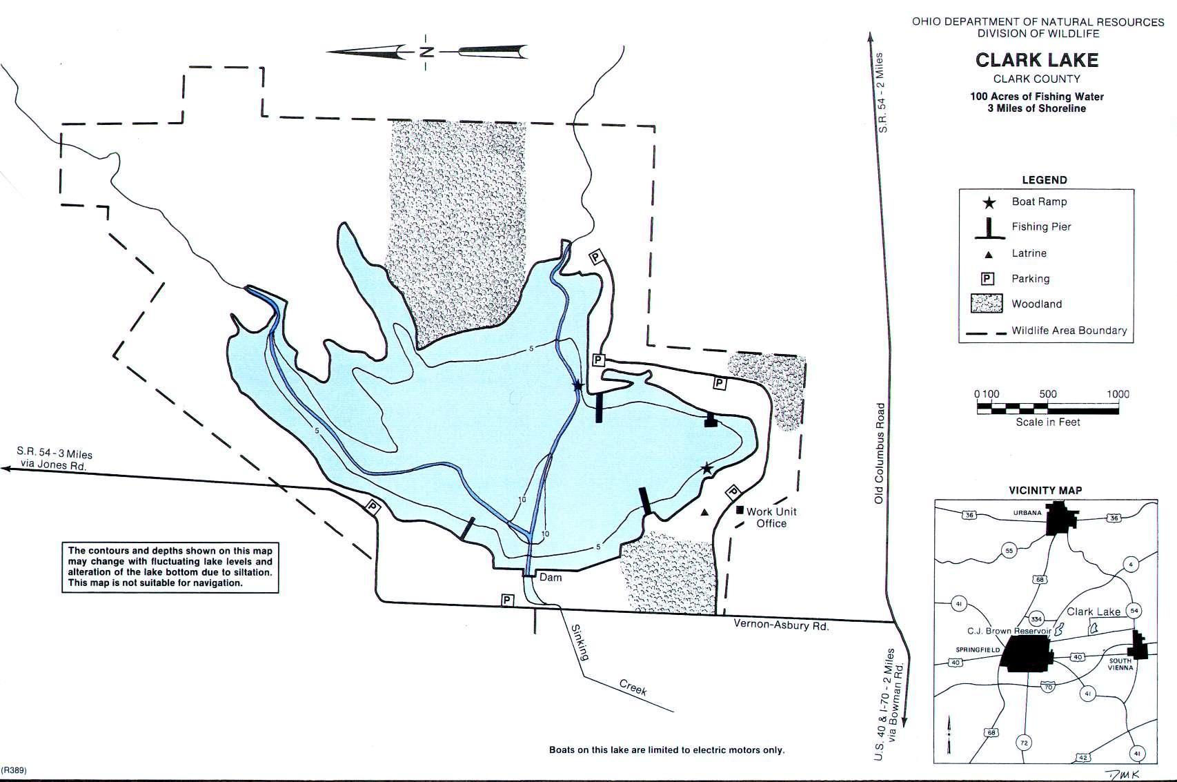 Clark Lake Fishing Map - Southwest Ohio - GoFishOhio!