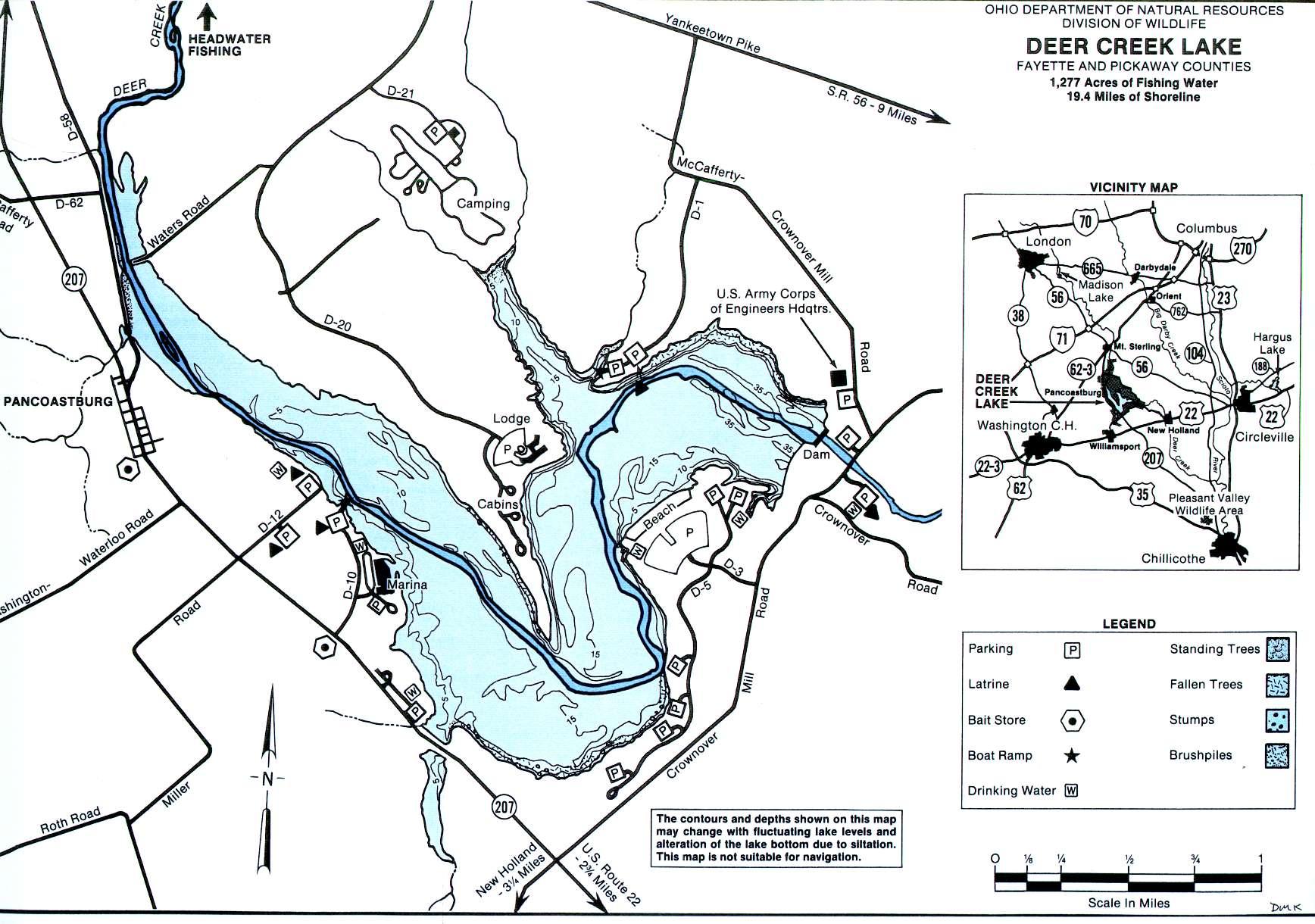 Deer Creek Lake Fishing Map - GoFishOhio!