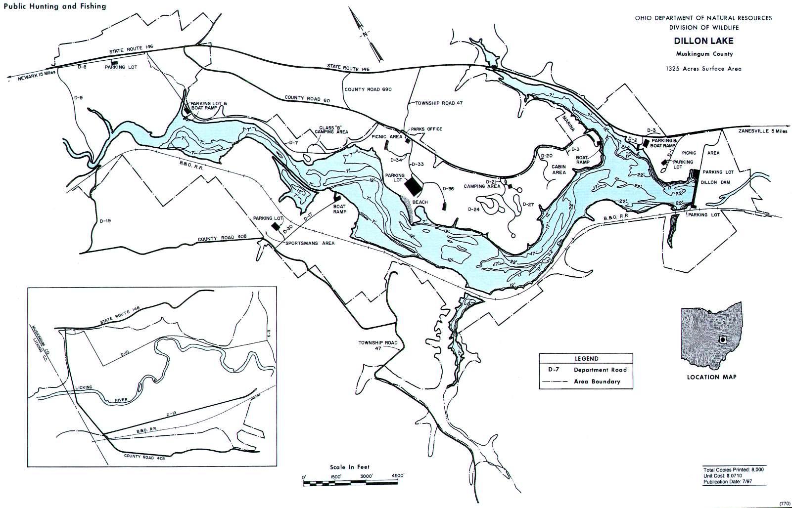Dillon Lake Fishing Map - GoFishOhio