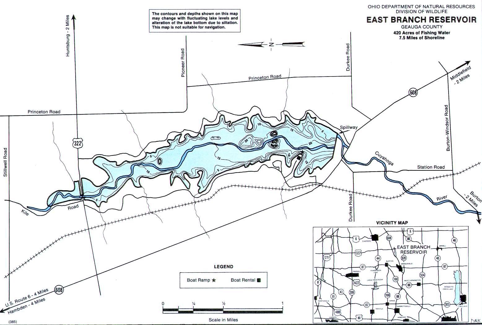 East Branch Reservoir Fishing Map - GoFishOhio