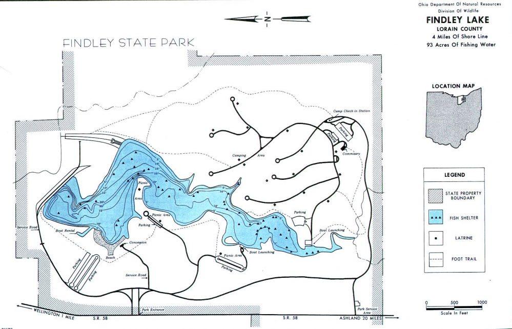 Findley Lake Fishing Map ~ GoFishOhio