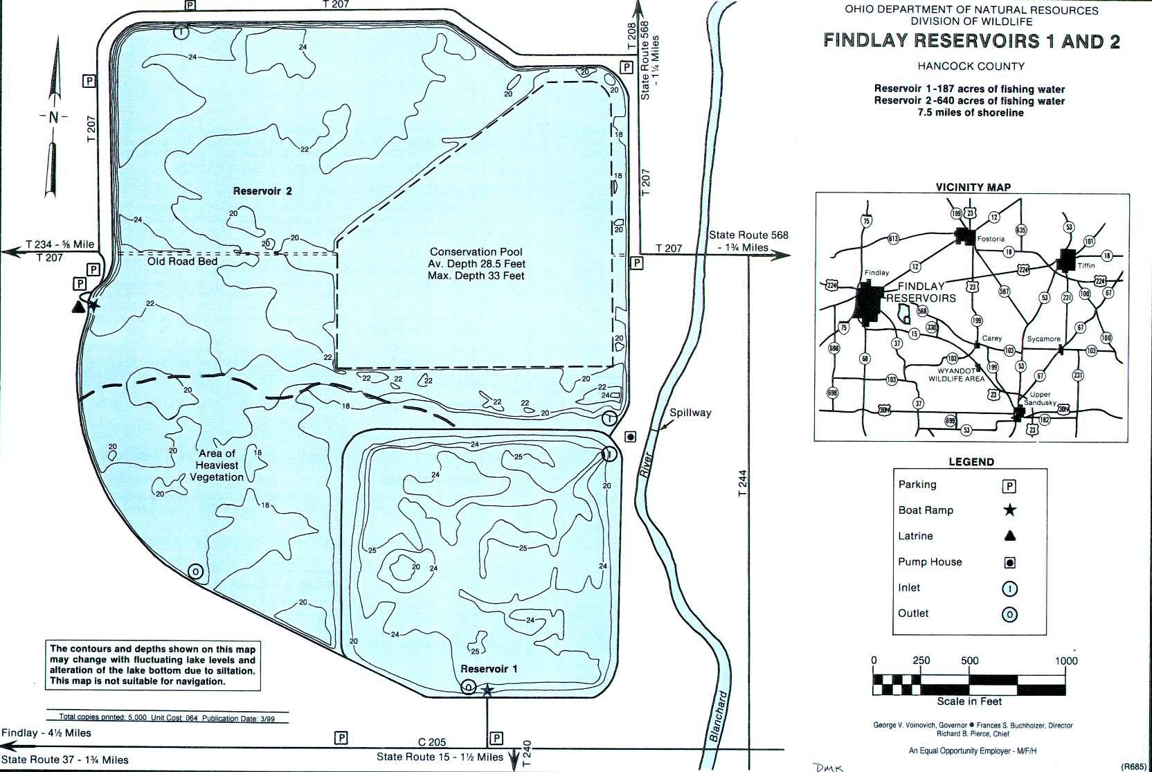 Findlay Reservoirs 1 + 2 Fishing Map - GoFishOhio