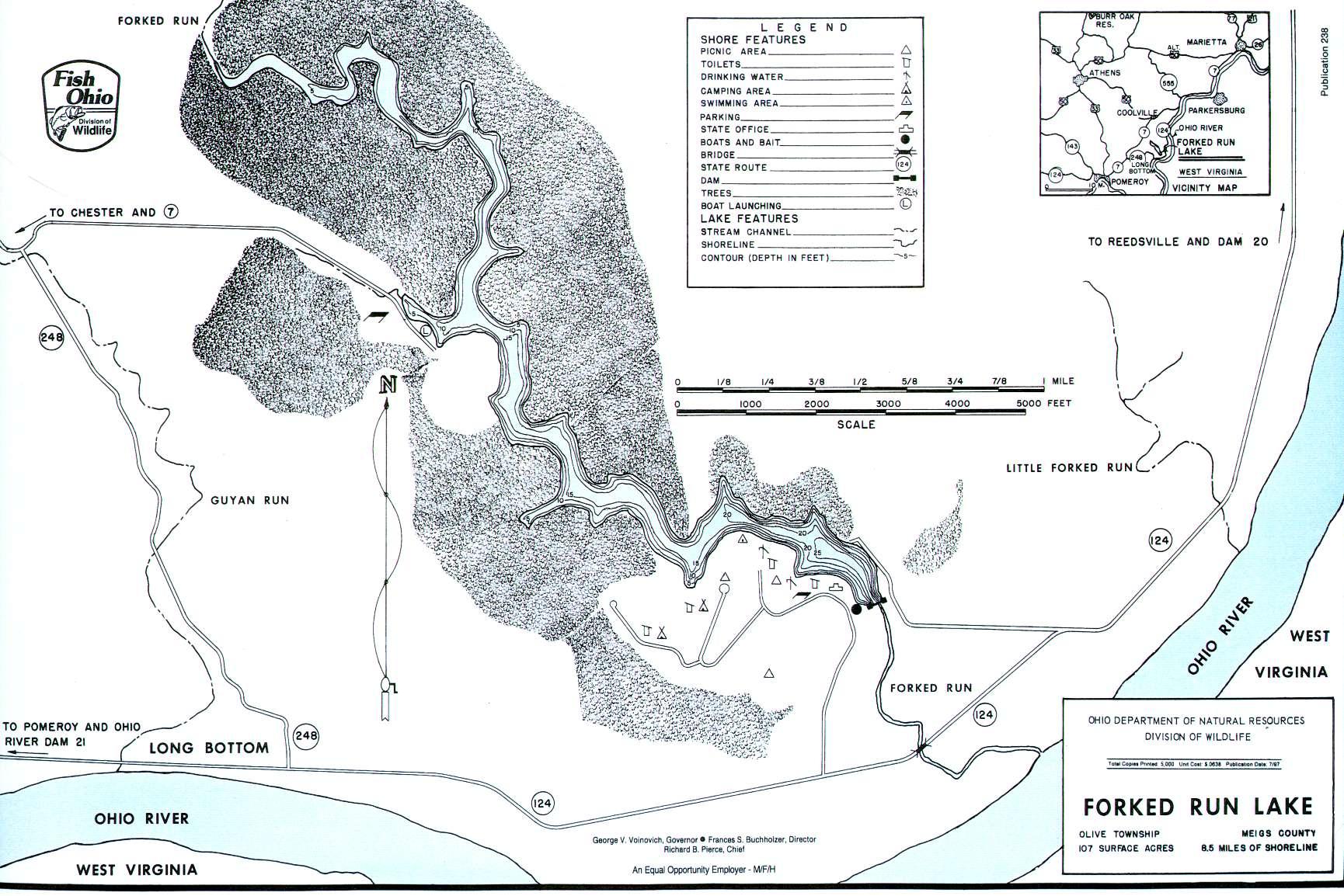 Forked Run Lake Fishing Map - GoFishOhio