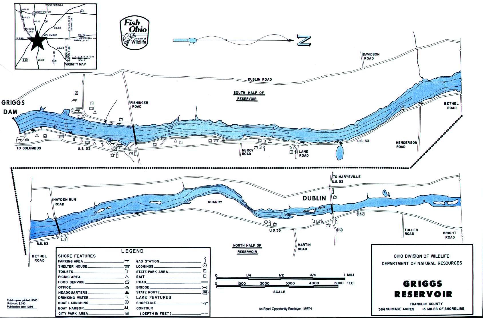 Griggs Reservoir Fishing Map - GoFishOhio!
