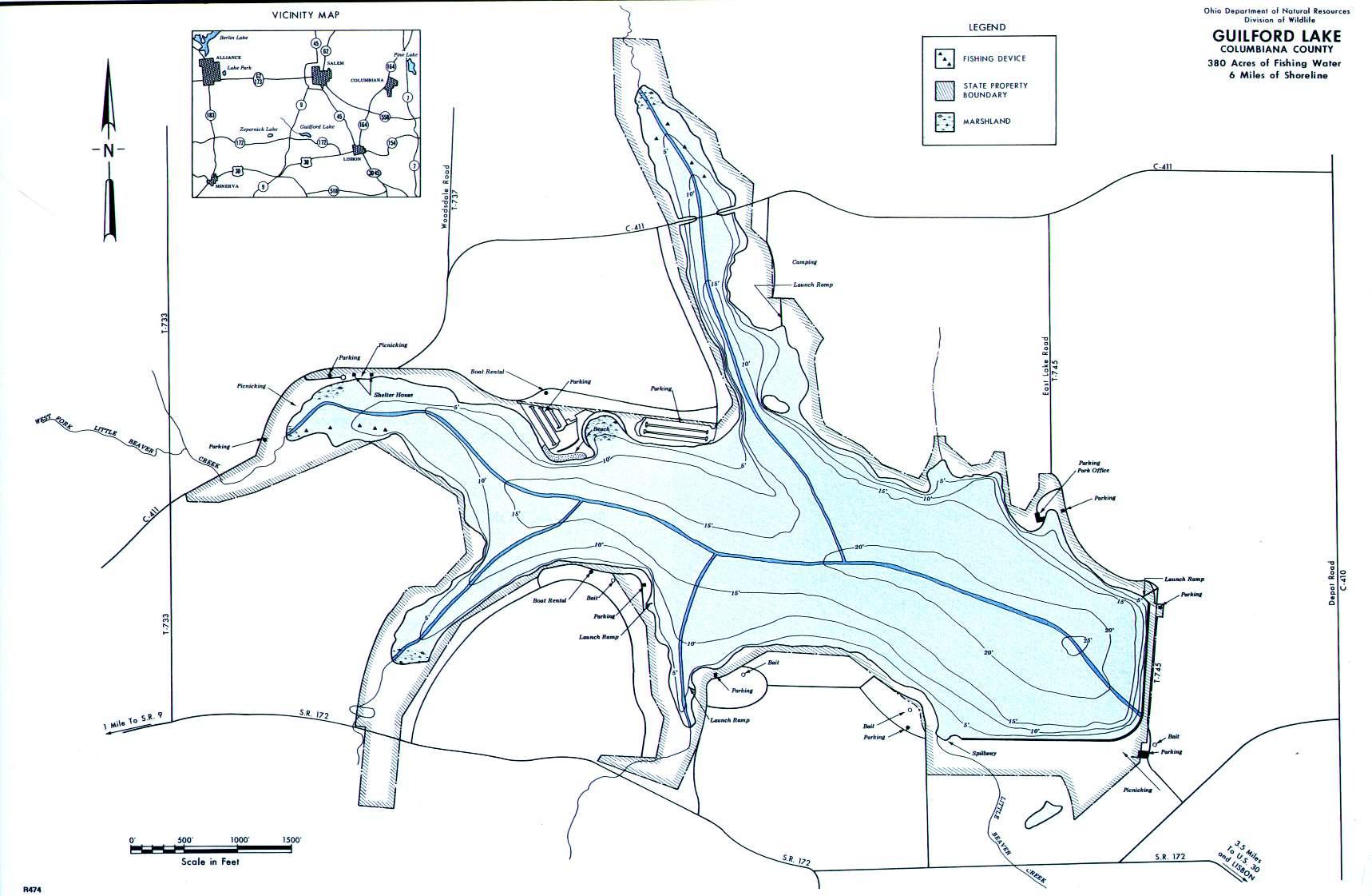 Guilford Lake Fishing Map - GoFishOhio