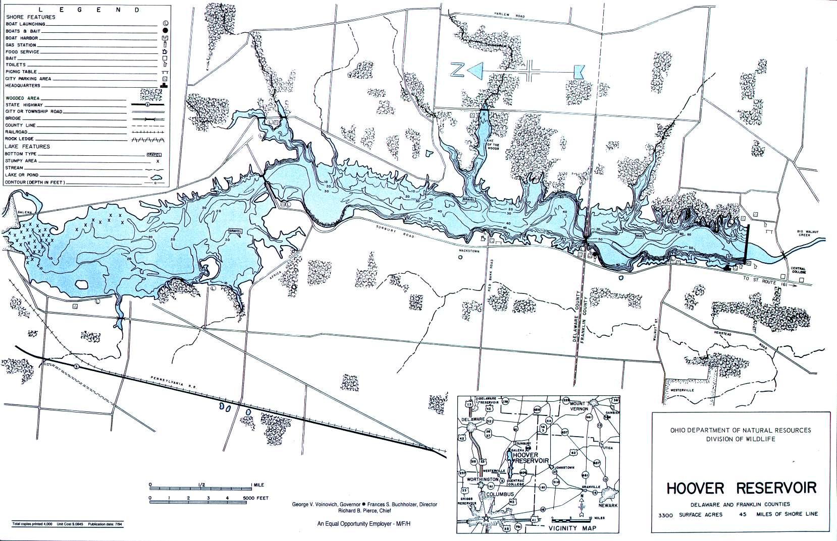 Hoover Reservoir Fishing Map - GoFishOhio