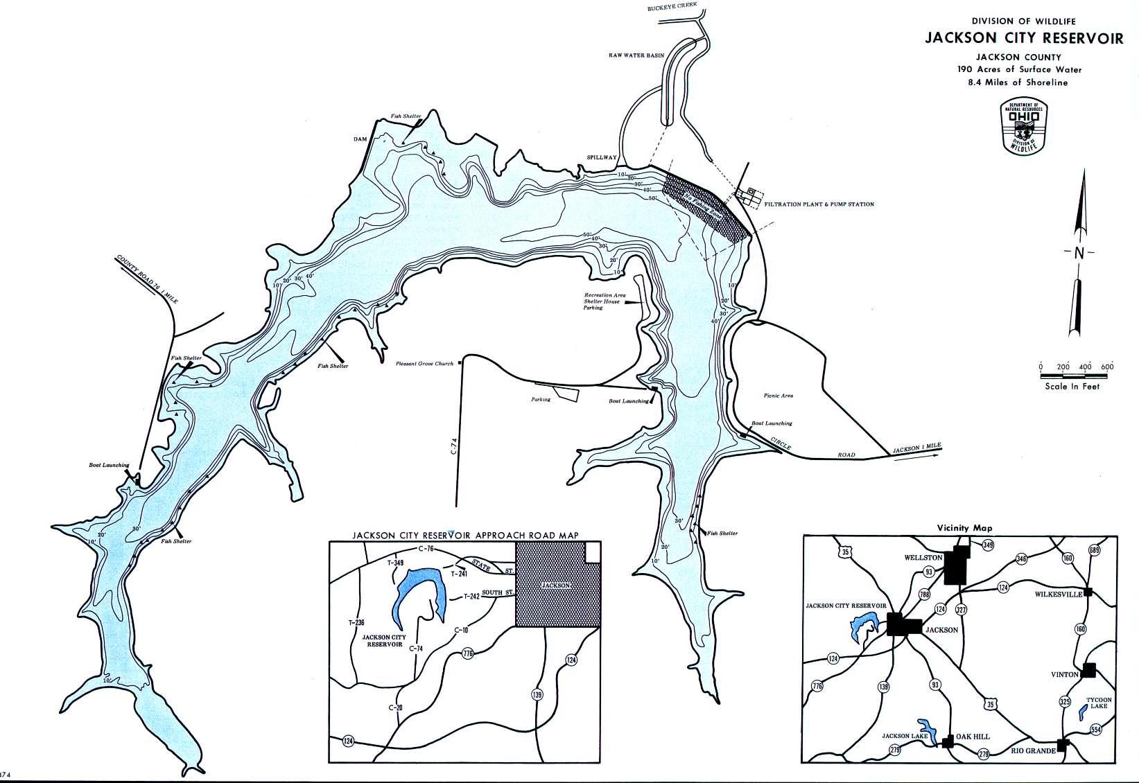 Jackson City Reservoir Fishing Map - GoFishOhio