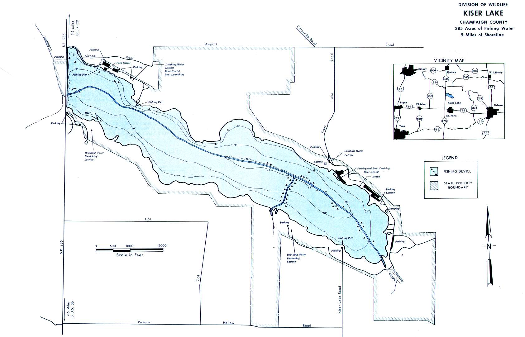 Kiser Lake Fishing Map - GoFishOhio