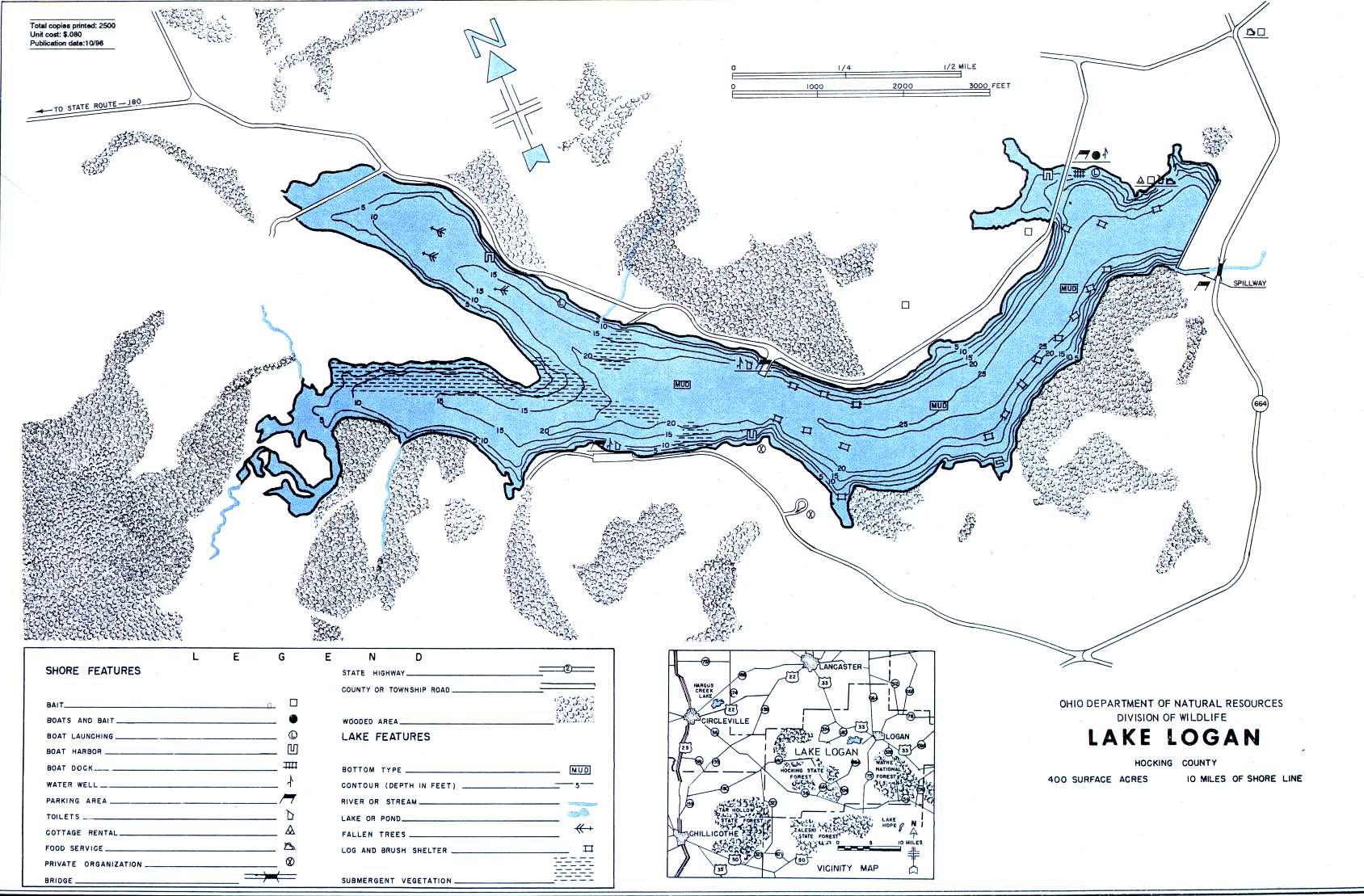 Lake Logan Fishing Map - GoFishOhio