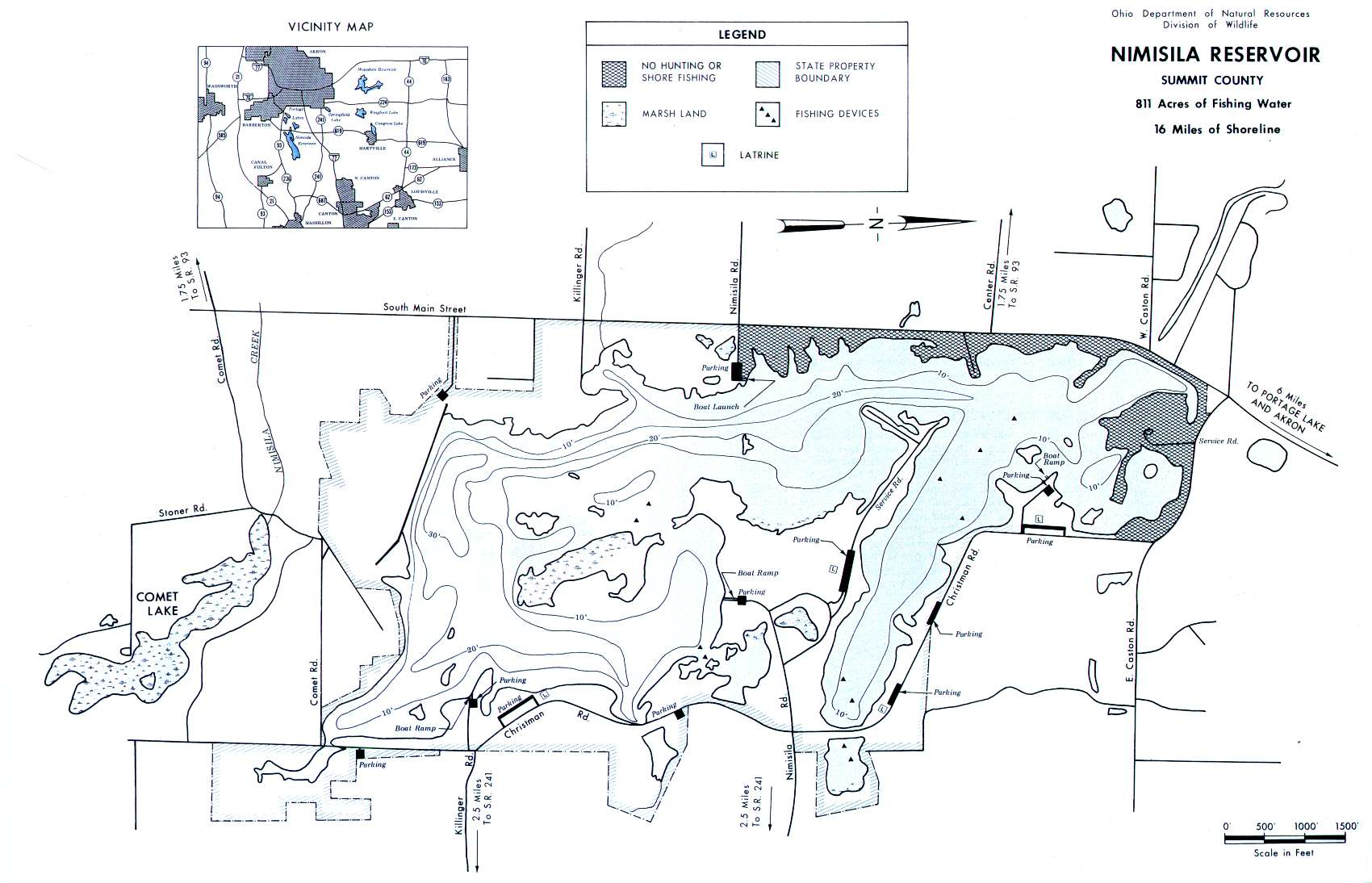 Nimisila Reservoir Fishing Map - GoFishOhio