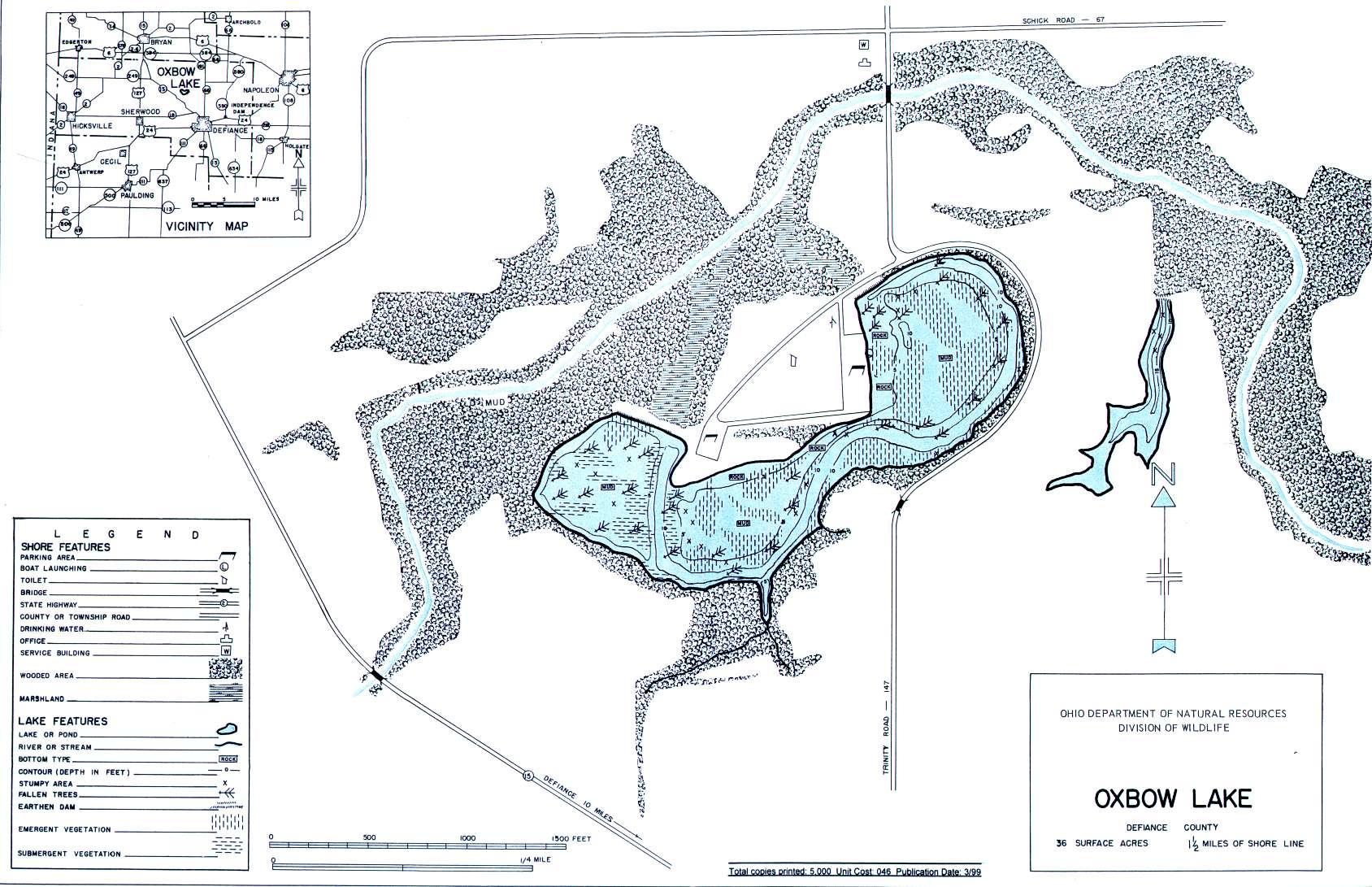 Oxbow Lake Fishing Map - GoFishOhio