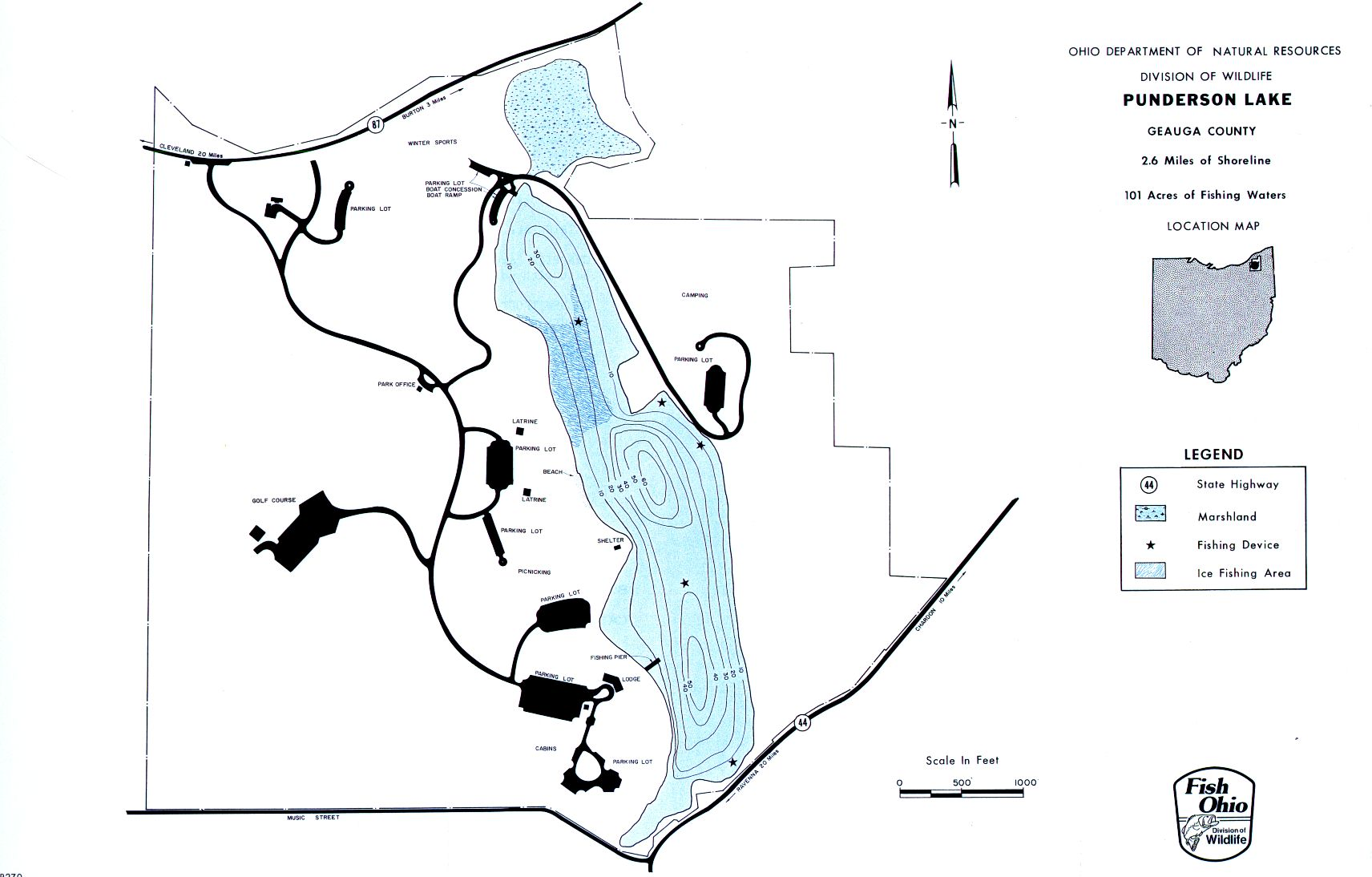Punderson Lake Fishing Map - GoFishOhio