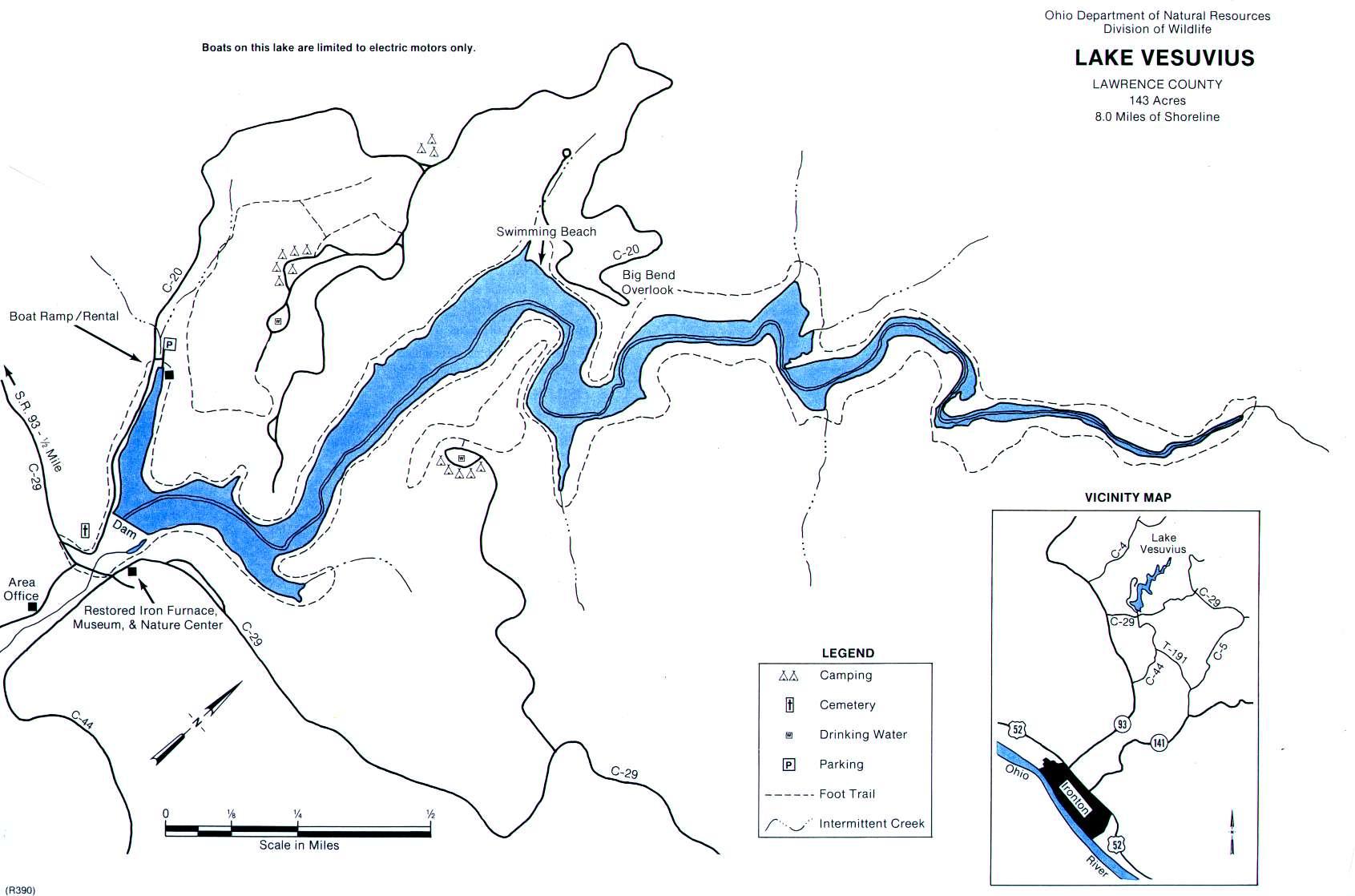 Lake Vesuvius Fishing Map - GoFishOhio
