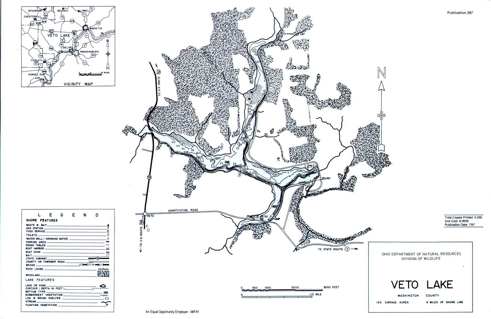 Veto Lake Fishing Map - GoFishOhio
