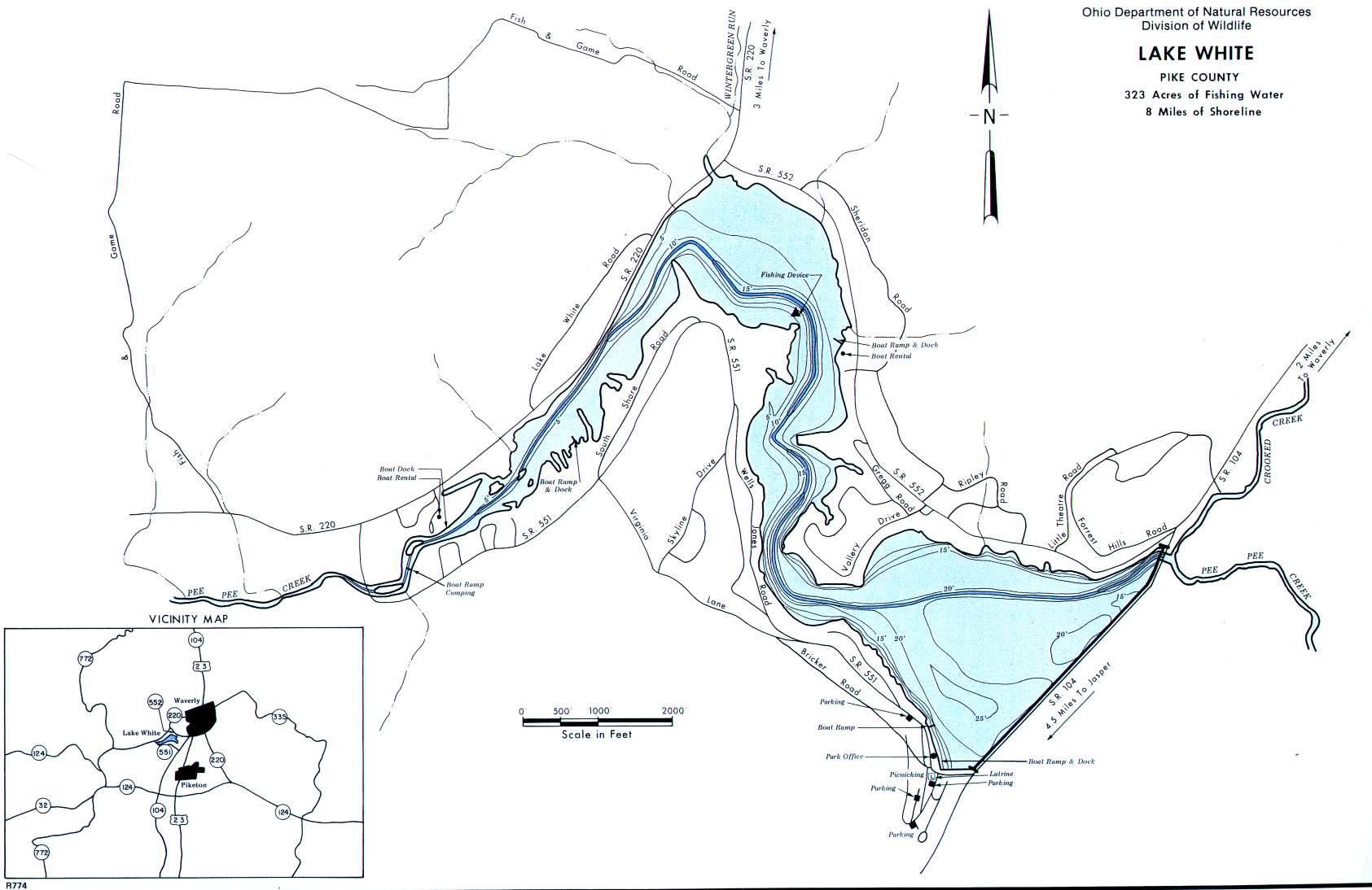 Lake White Fishing Map - GoFishOhio