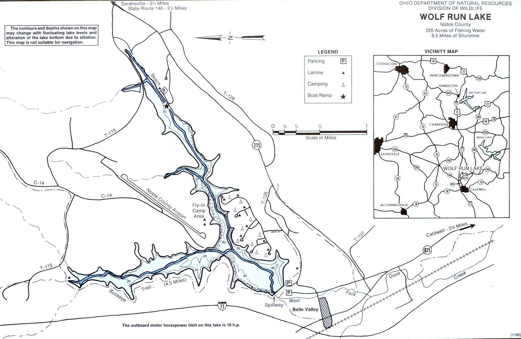 Wolf Run Lake Fishing Map - GoFishOhio
